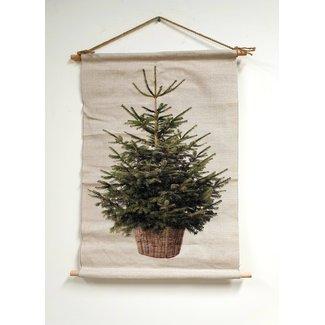 Countryfield Kerstboom op canvas doek inclusief verlichting (65x107 cm)