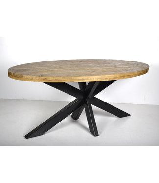Livingfurn | Eettafel | 100x210 cm | Strong | mangohout met staal