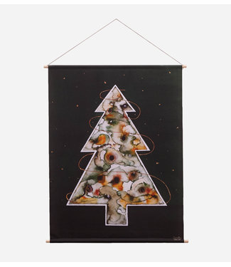 Urban Cotton Around the christmas tree - Textielposter 90 x 120 cm