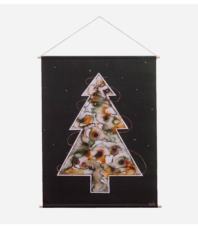 Urban Cotton  Around the christmas tree - Textielposter 60 x 80 cm