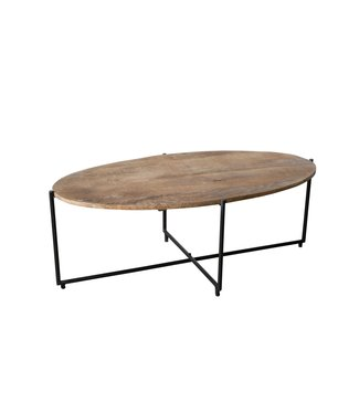 Lifestyle | salontafel | Anthony Black | ovaal | 110x40 cm |  mangohout met staal