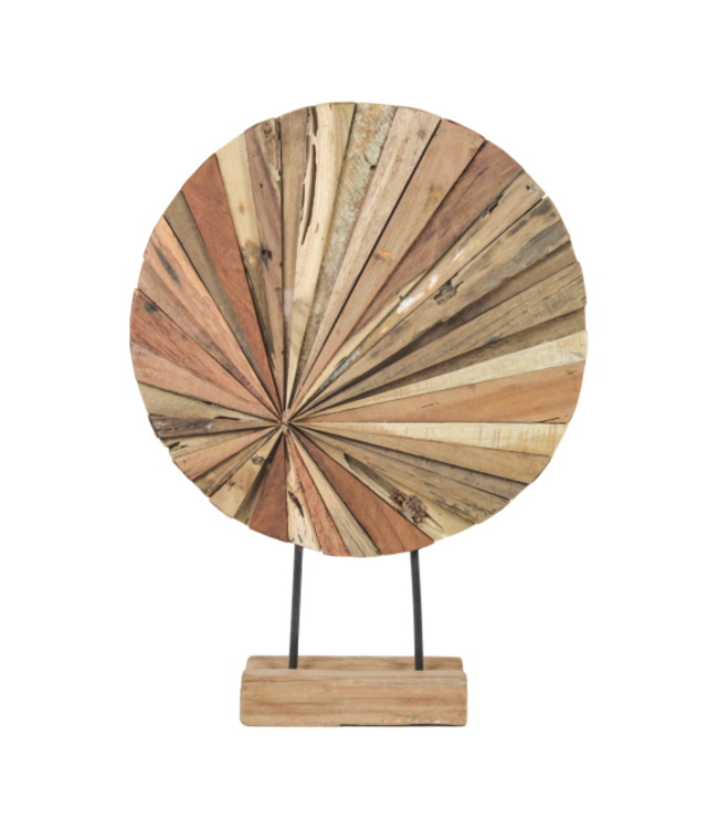 HSM Collection Decoratieve houten beeld - 40x10x55 - Naturel - Gerecycled hout