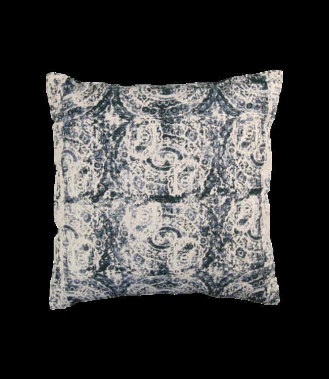 HSM Collection Sierkussen met print - katoen - 45x45 cm - groen/naturel/blauw