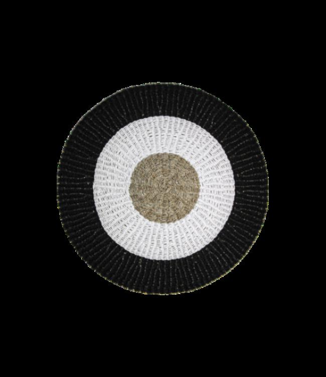HSM Collection Vloerkleed Malibu - ø150 cm - raffia/zeegras - naturel/wit/zwart