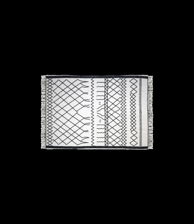 HSM Collection Vloerkleed - katoen - 90x60 cm - wit/zwart