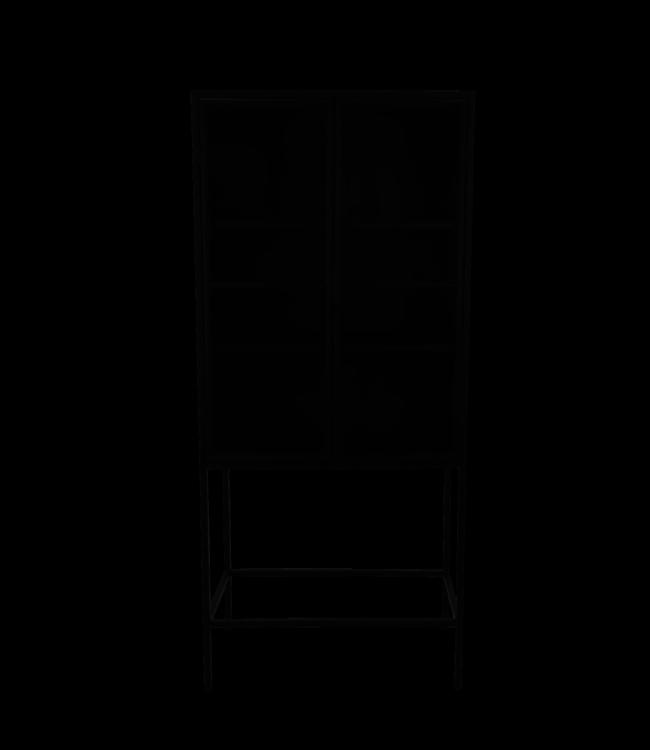 HSM Collection Vitrinekast Manhattan 2 deurs - 80x180 - metaal/glas