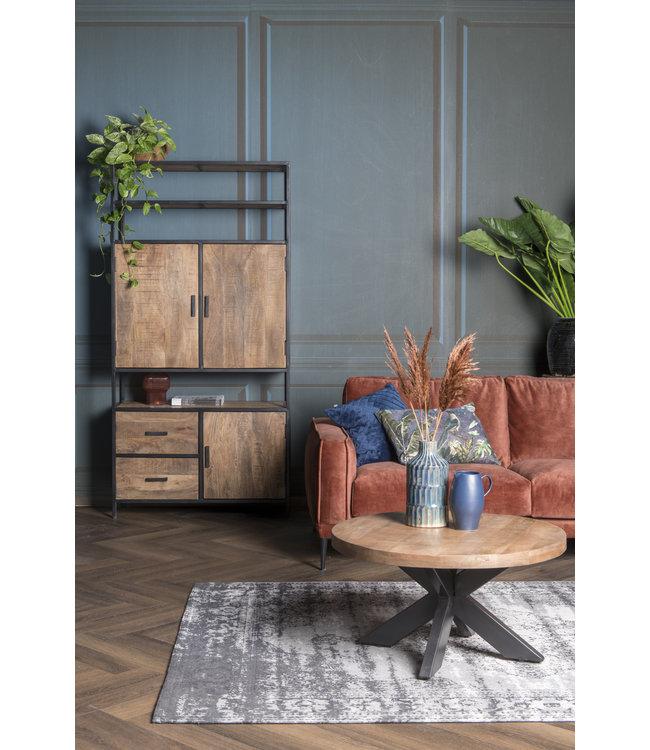Livingfurn Wandkast Sturdy open 100cm Mangohout / Gecoat Staal