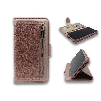 Samsung Galaxy A71 bookcase | roze glitter | met rits