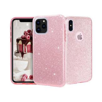 Samsung Galaxy A70 hoesje   roze silicone glitter