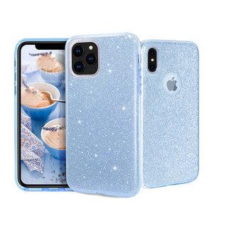 Samsung Galaxy A70 hoesje   blauwe silicone glitter