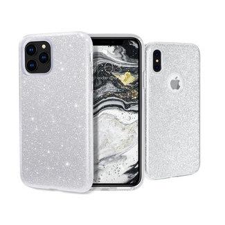 Samsung Galaxy A70 hoesje   zilver silicone glitter