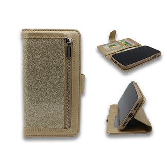 Samsung Galaxy A51 bookcase   goud glitter   met rits