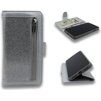 Samsung Galaxy A51 bookcase   zilver glitter   met rits