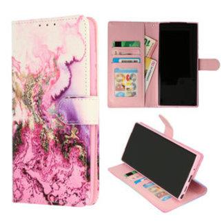 Samsung Galaxy A12 bookcase | marmer paars print