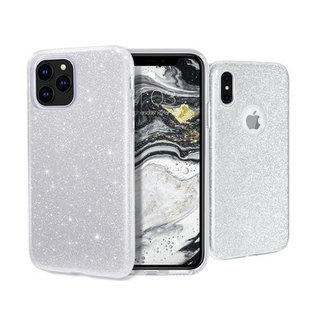 Samsung Galaxy A40 hoesje   zilver glitter