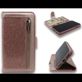 Apple iPhone XR Bookcase met rits en glitter