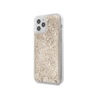 Guess iPhone 12 hoesje   guess glitter goud