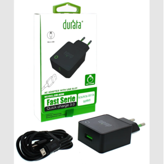 Durata Durata AC Adapter 2/1 USB Slot 3.0A Micro-USB Black
