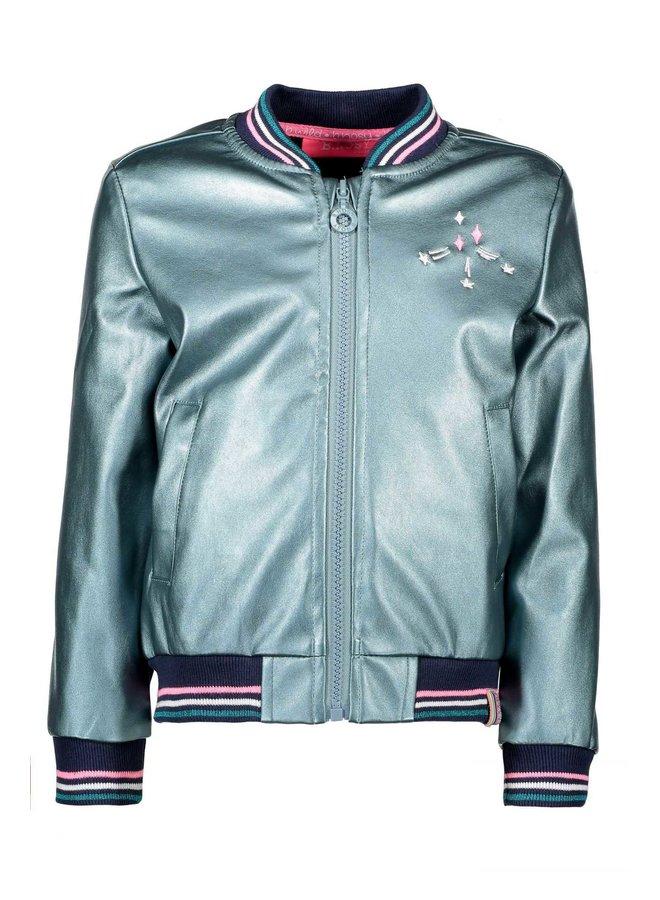 Fake Leather Jacket - Metallic Hot Turquoise