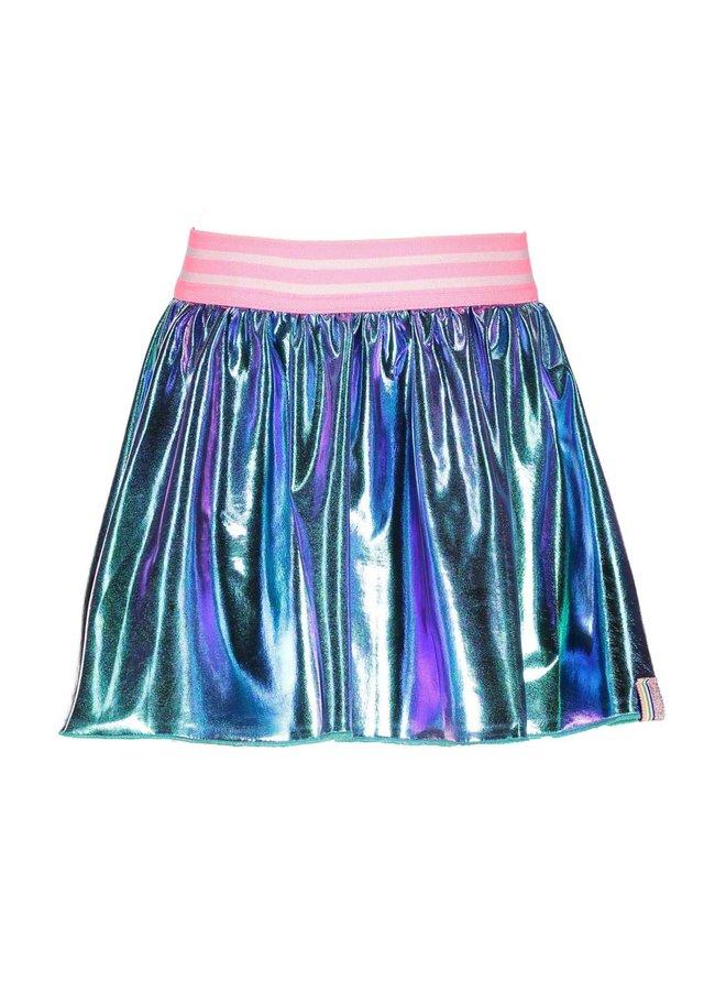 Coated Skirt- Metallic Hot Turquoise