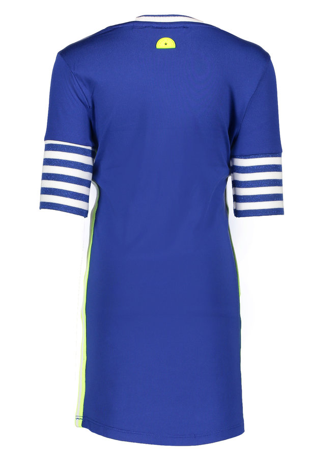 Dress with Rib Sleeves - Royal Blue