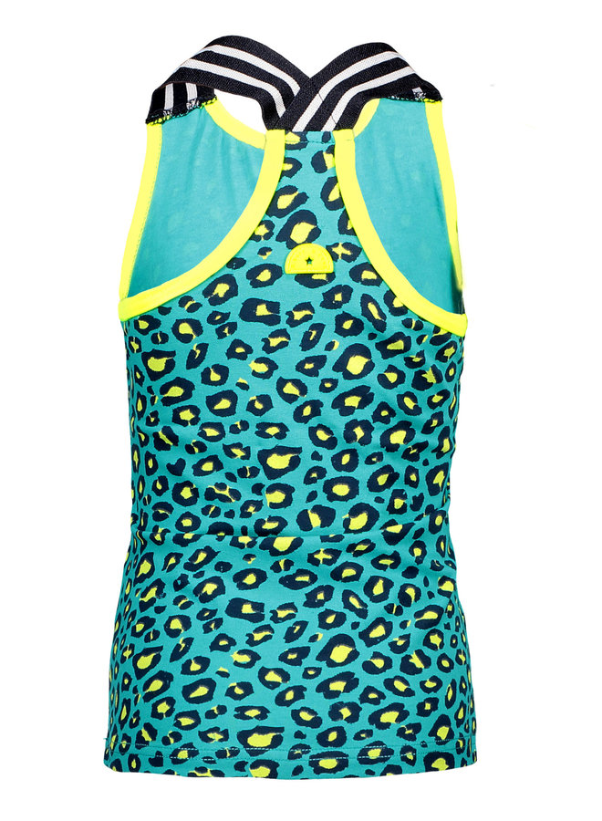 Singlet Hot Turquoise Panther