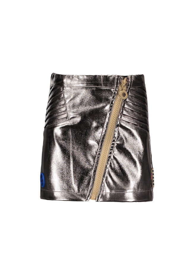 Fake Leather Skirt - Champagne