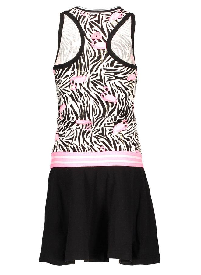 Dress White Flamingo Zebra/Black Skirt