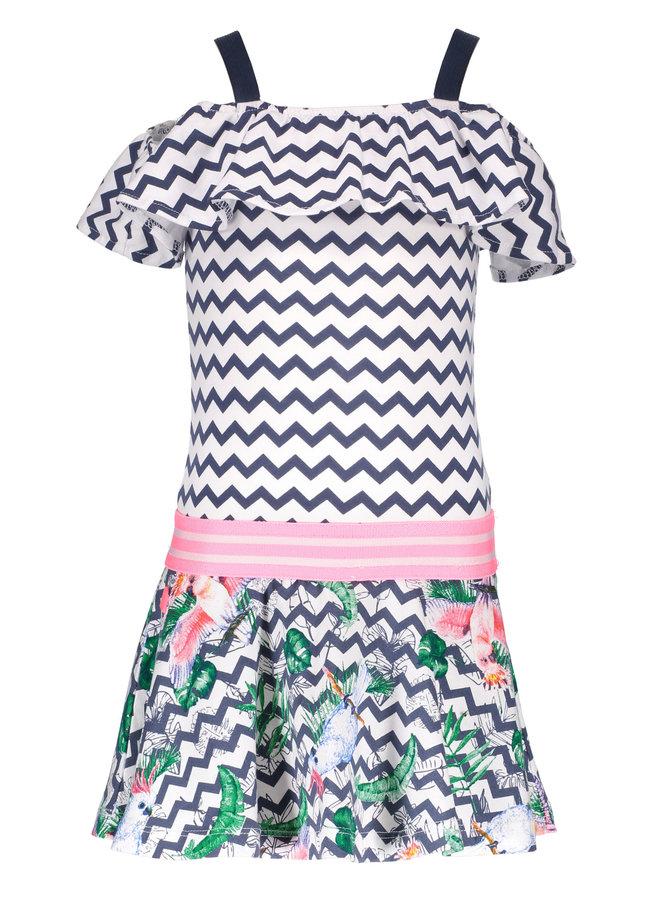Dress With Ruffle On Shoulder - Zigzag Bird - Valt Kleiner