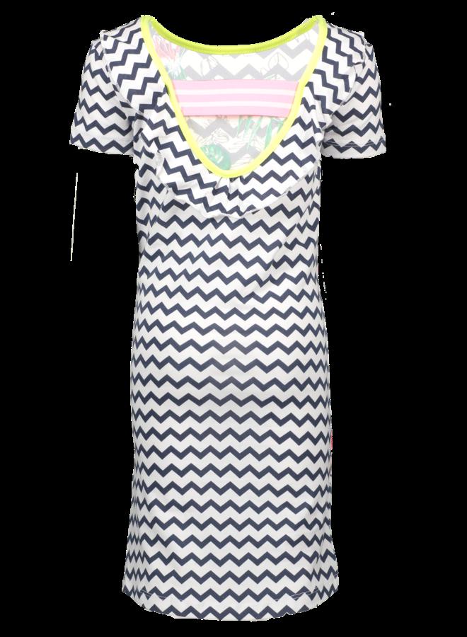 Dress With Open Back And Ruffle - Zigzag Bird - Valt Kleiner