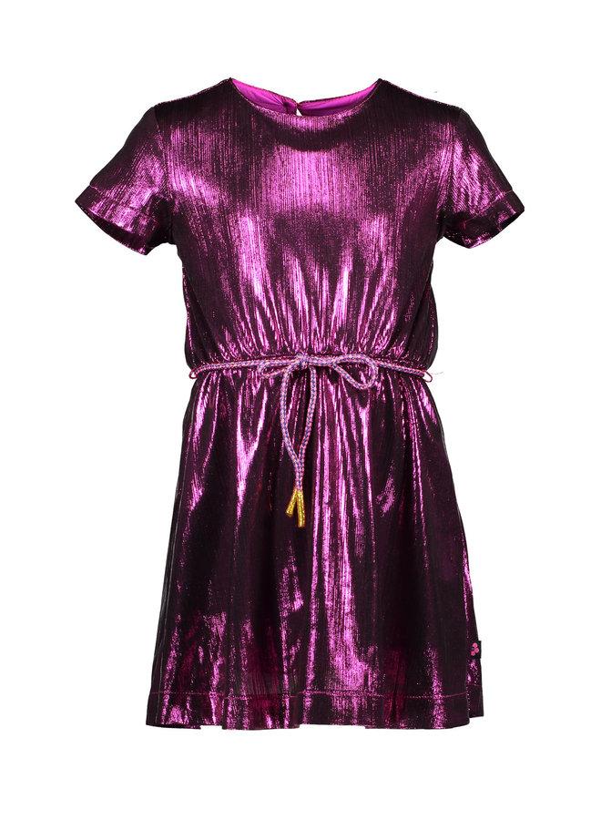Foil Coated Dress - Neon Fuchsia