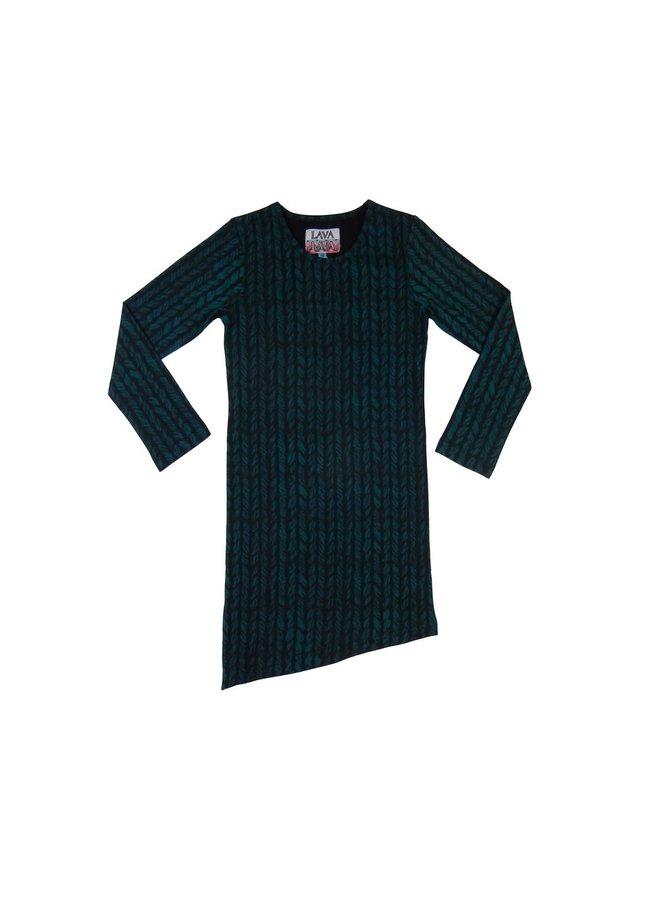 Dress Aztec - Petrol and Wool Print Schuin