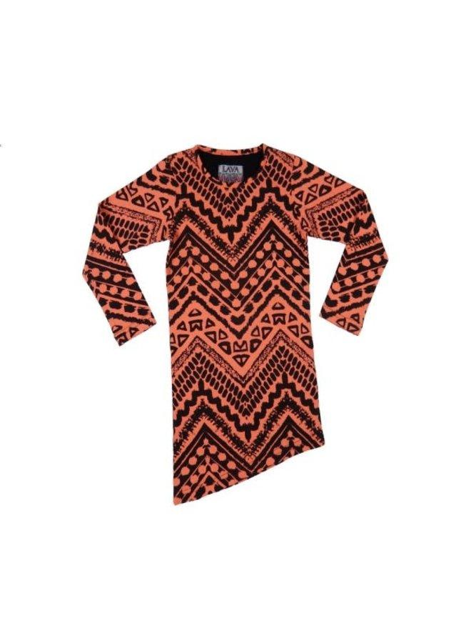 Dress Aztec - Winter Coral and Black Schuin
