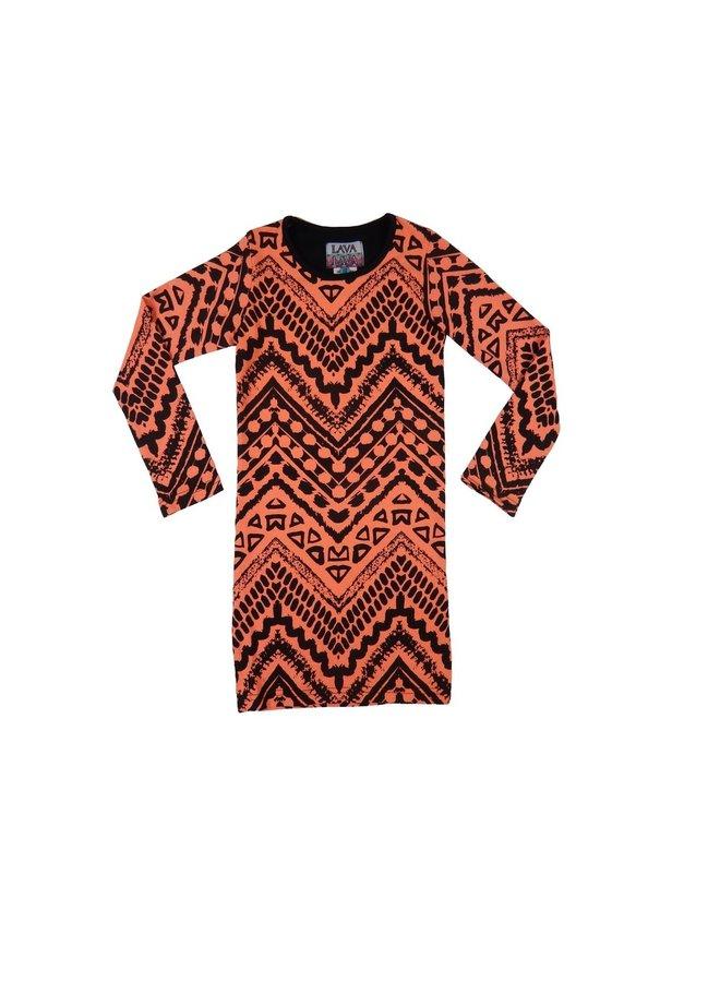 Dress Aztec - Winter Coral and Black Recht