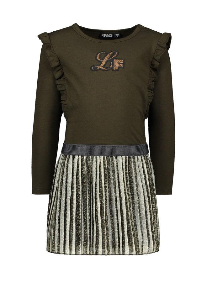 Ruffle Dress with Striped Skirt