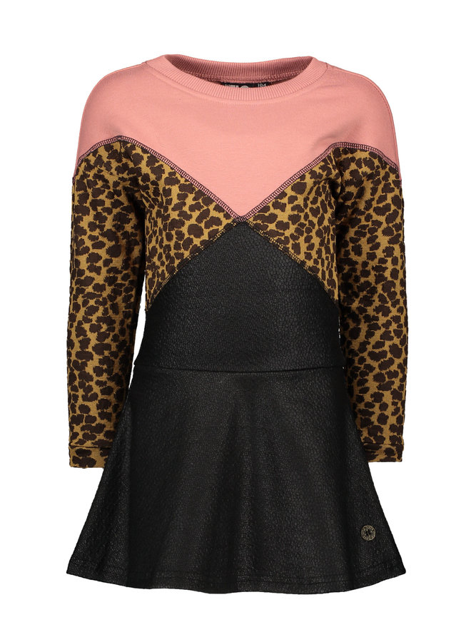 Jacquard Snake Colour Block Dress - Old Pink