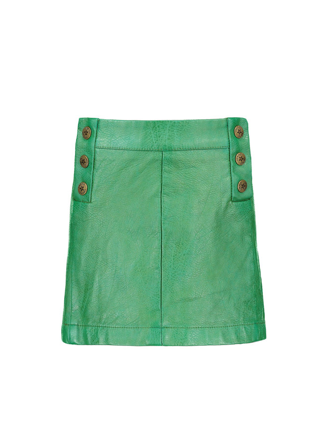 Fake Leather Skirt - Green