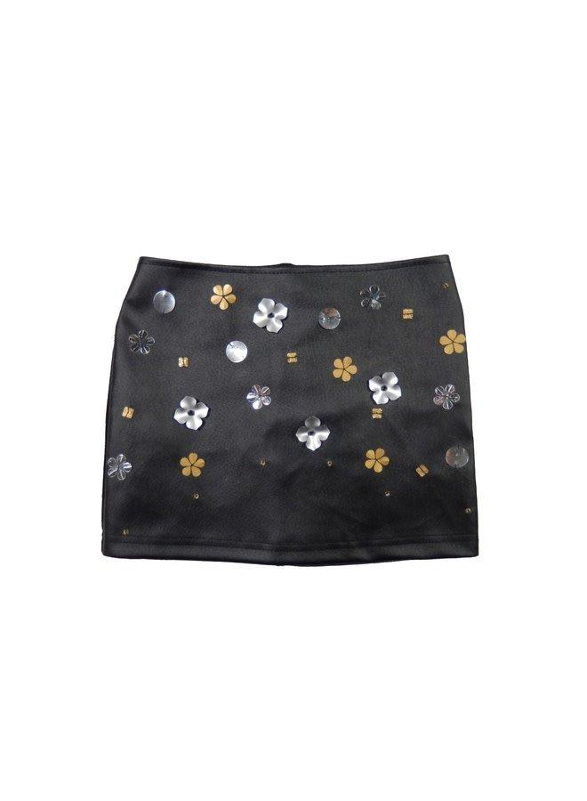 Leather Skirt Embellished