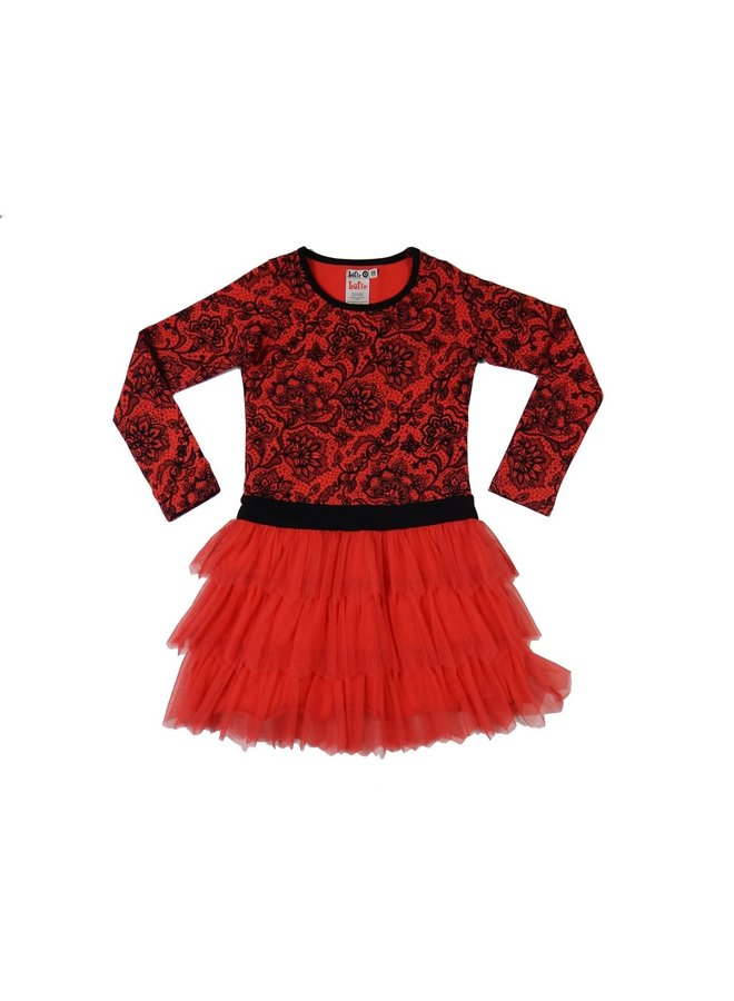 Party Dress - Red Coral/Black