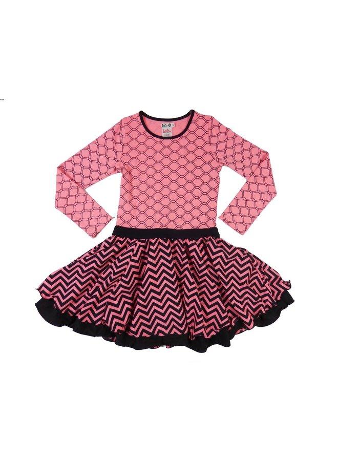 Dancing Dress - Pink Coral/Black