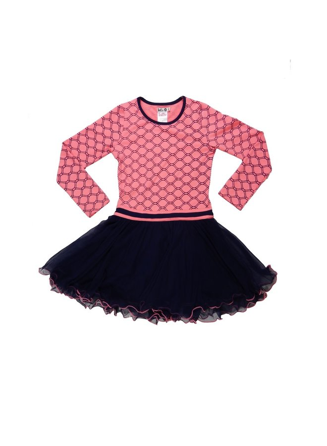 Dancing Dress - Dark Blue/Pink Coral Neon