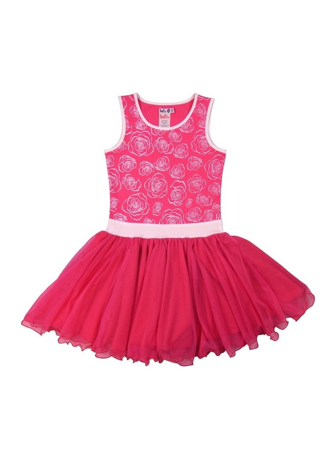 Dancing Dress Net - Fuchsia/White