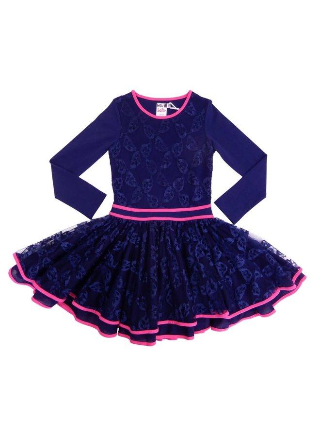 Dancing Dress Heart Net - Dark Blue/Fuchsia
