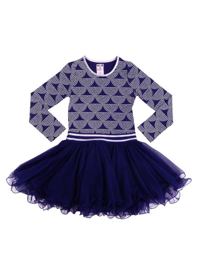 Dancing Dress Dots - Dark Blue/Off White
