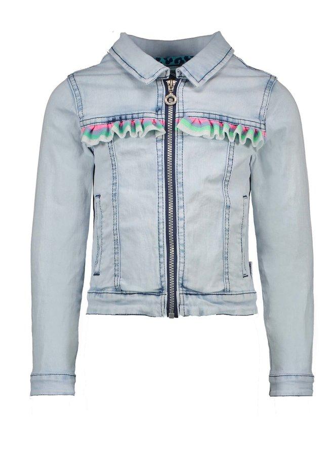 Denim Jacket Colored Ruffle - Light Denim