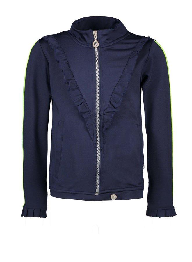 Jacket V-Shaped Ruffle - Space Blue