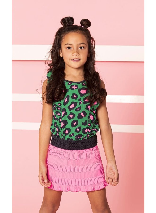 Dress with Stroke Plissé Skirt - Jade Leopard