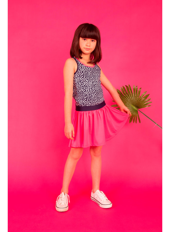 Dress with Uni Skirt - Dots Space Blue