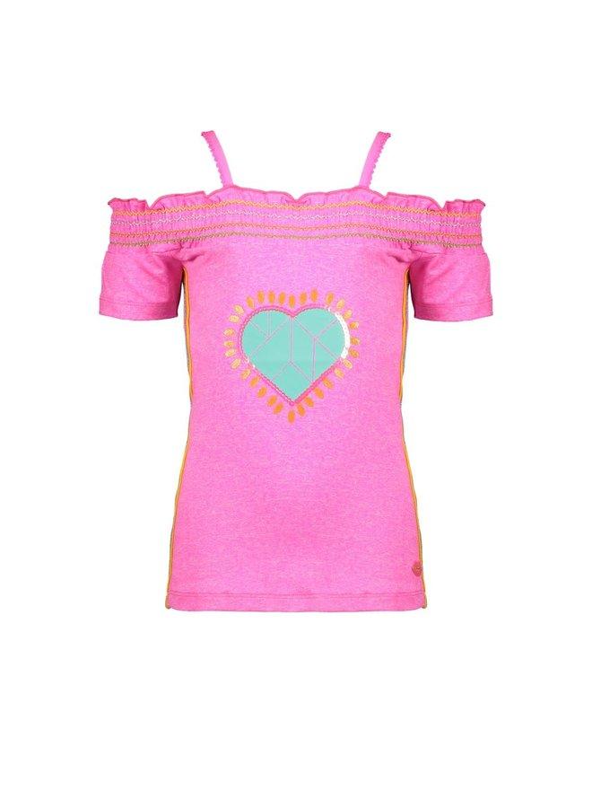 Off Shoulder Shirt Heart - Neon Pink