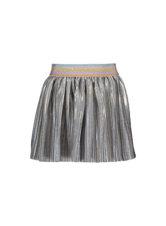 Satin Plissé Skirt - Silver